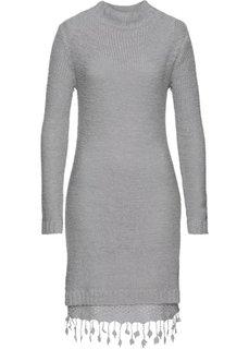 Вязаное платье с кружевной отделкой (светло-серый) Bonprix