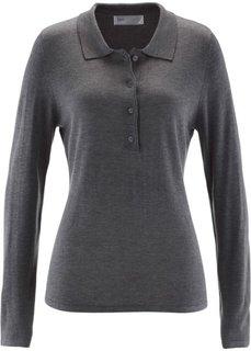Пуловер с воротником-поло (серый меланж) Bonprix