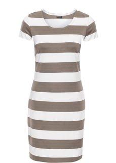 Трикотажное платье (белый/серо-коричневый в полоску) Bonprix