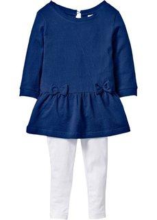 Трикотажное платье с имитацией денима + легинсы (2 изд.) (синий джинсовый/белый) Bonprix