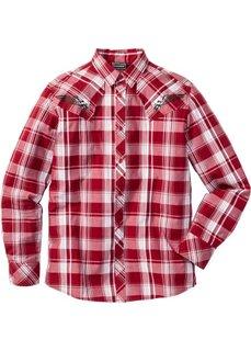 Рубашка Slim Fit с длинным рукавом (красный в клетку) Bonprix