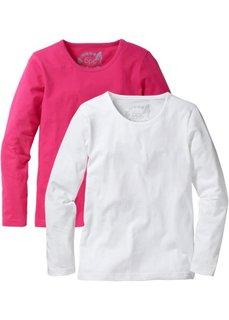 Однотонная футболка с длинными рукавами (2 шт.) (горячий ярко-розовый/белый) Bonprix