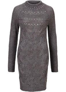 Вязаное платье с блестящими камешками (серый меланж) Bonprix
