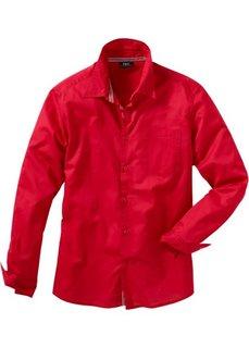 Рубашка с длинным рукавом, стандартный покрой (красный) Bonprix