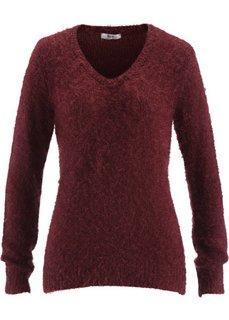 Пушистый пуловер с V-образным вырезом (кленово-красный) Bonprix