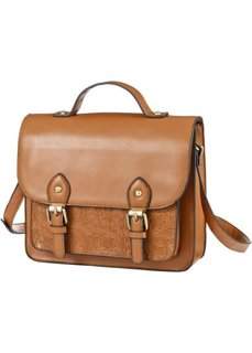Сумка-портфель с ремнем через плечо (коричневый) Bonprix