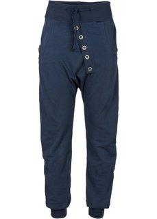 Трикотажные брюки с застежкой на ряд пуговиц (темно-синий) Bonprix