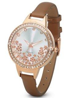 Часы с цветочным мотивом и стразами (розово-золотистый в цветочек) Bonprix