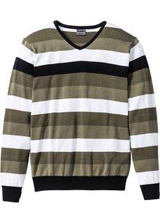 Полосатый пуловер узкого прямого кроя slim fit (темно-оливковый/белый/черный в полоску) Bonprix