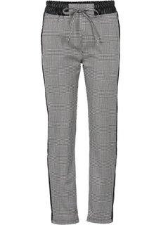 Жаккардовые брюки (черный/кремовый в клетку) Bonprix