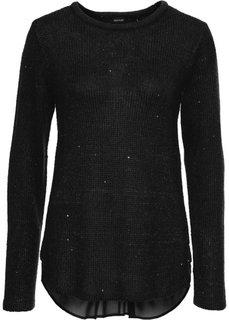 Пуловер с пайетками и со вставкой (черный) Bonprix