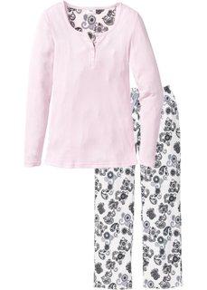 Пижама (нежно-розовый/кремовый с принтом) Bonprix