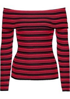 Пуловер с вырезом-кармен (черный/красный в полоску) Bonprix