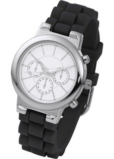 Часы на силиконовом браслете (черный/серебристый) Bonprix