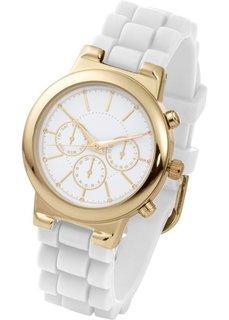 Часы на силиконовом браслете (белый/золотистый) Bonprix