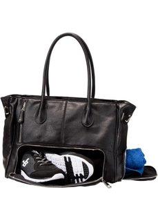 Спортивная сумка с аппликациями (черный) Bonprix