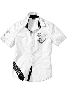 Рубашка зауженного покроя с коротким рукавом (белый) Bonprix