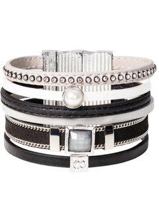 Широкий браслет (черный/серый) Bonprix