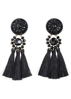 Серьги с текстильными кистями (золотистый/черный) Bonprix