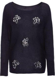 Вязаный пуловер с пайетками (темно-синий) Bonprix