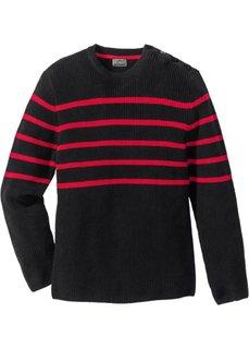 Пуловер Regular Fit в полоску (черный/красный в полоску) Bonprix