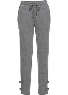 Трикотажные брюки с деталями в байкерском стиле (серый меланж) Bonprix