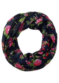 Шарф-снуд с принтом роз (темно-синий/ярко-розовый) Bonprix