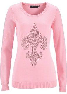 Пуловер с лилией из стразов (розовая пудра) Bonprix