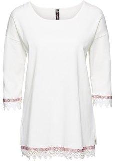 Пуловер с плетеной отделкой (кремовый) Bonprix