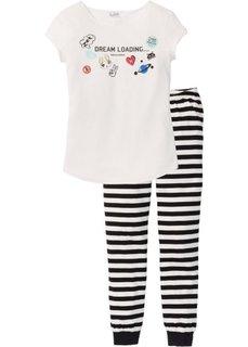 Пижама (черный/кремовый с принтом) Bonprix