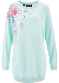 Пуловер с рукавом летучая мышь (пастельная мята/разноцветный с рисунком) Bonprix