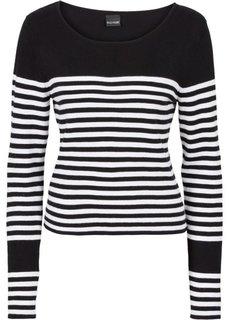 Пуловер (черный/белый в поперечную полоску) Bonprix