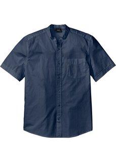 Рубашка Regular Fit с воротником-стойкой и коротким рукавом (темно-синий) Bonprix