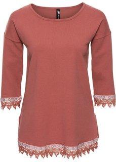 Пуловер с плетеной отделкой (розовый) Bonprix