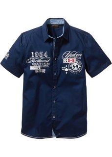 Рубашка стандартного покроя с коротким рукавом (темно-синий) Bonprix
