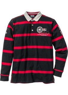 Футболка-поло Regular Fit с длинным рукавом (черный/красный в полоску) Bonprix