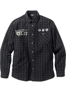 Рубашка Regular Fit с длинным рукавом (черный в клетку) Bonprix