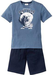 Пижама с шортами (2 изд.) (синий джинсовый/темно-синий) Bonprix