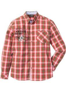 Клетчатая рубашка Regular Fit (омаровый/зеленый в клетку) Bonprix