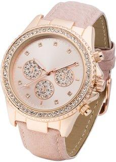 Наручные часы со стразами (розовый/розово-золотистый) Bonprix