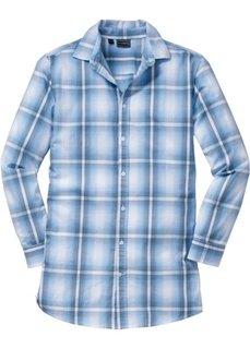 Длинная рубашка Slim Fit с длинным рукавом (нежно-голубой в клетку) Bonprix