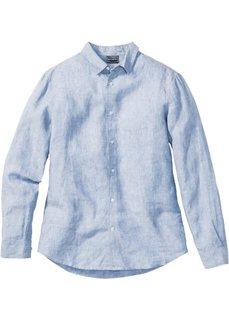 Льняная рубашка Slim Fit с длинным рукавом (нежно-голубой меланж) Bonprix