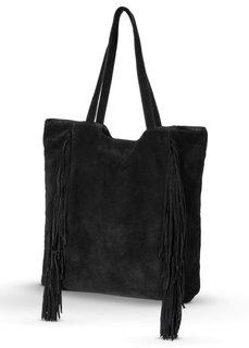 Кожаная сумка-шопер с бахромой (черный) Bonprix