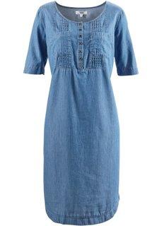 Джинсовое платье с короткими рукавами (голубой) Bonprix