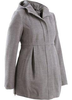 Мода для беременных: регулируемое полупальто с капюшоном (серый меланж) Bonprix