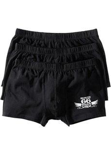 Черные боксеры-брифы (3 шт.) (черный/серебристо-серый) Bonprix