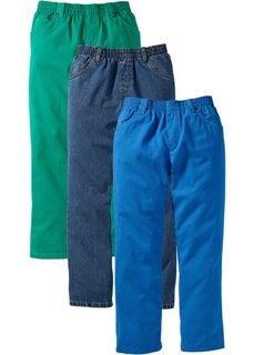 Джинсы в комплекте (3 шт.), стандартный (лазурный + зеленая паприка + синий «потертый») Bonprix