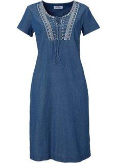 Джинсовое платье с коротким рукавом и вышивкой (синий) Bonprix