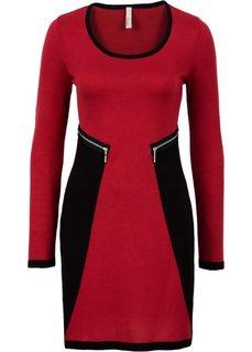 Вязаное платье (черный/красный) Bonprix