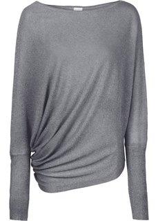 Пуловер с люрексом и асимметричным низом (серебристый металлик) Bonprix
